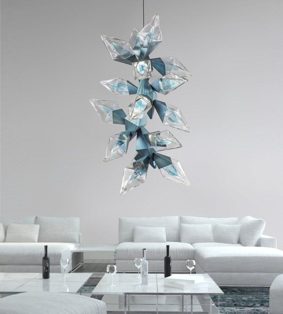 A sculptural blown glass and steel chandelier