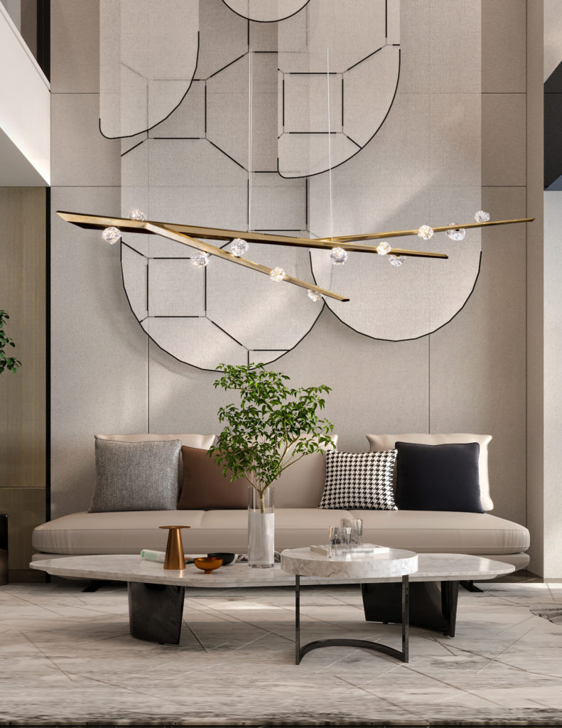 Branch style chandelier with cast glass
