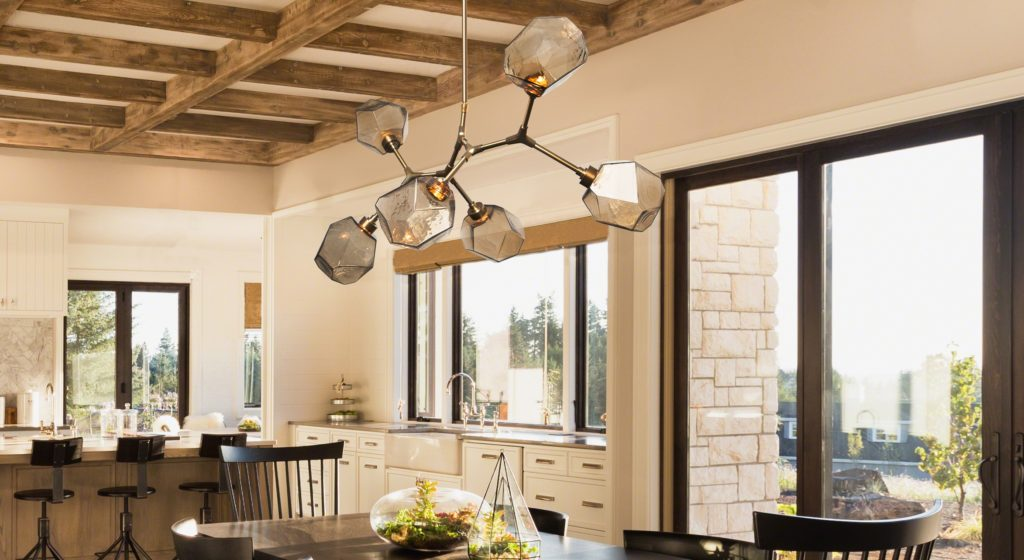 Gem blown glass Modern Branch dining in a Modern Farmhouse dining space