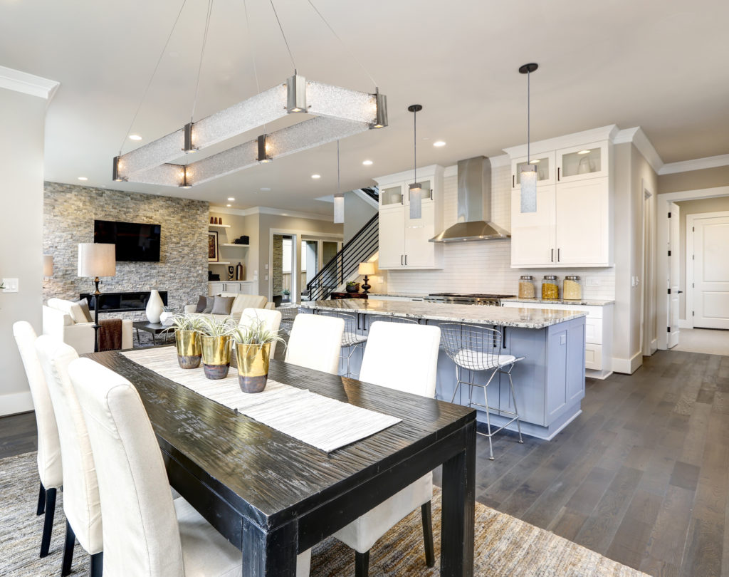 The Parallel rectangular glass dining light in a transitional kitchen