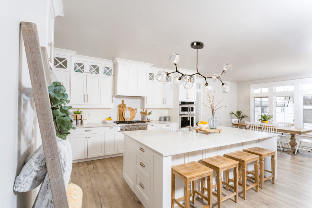 Gem Modern Branch over a modern farmhouse kitchen island