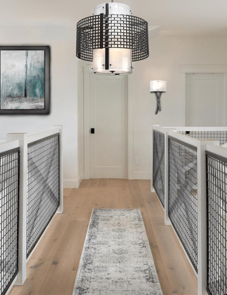 Tweed drum in a modern farmhouse hallway
