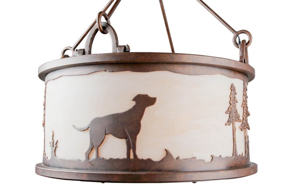 A client sent us a photo of her pet labrador, which we recreated in a steel silhouetted drum pendant. Custom design #CU-CH6030-7B-B