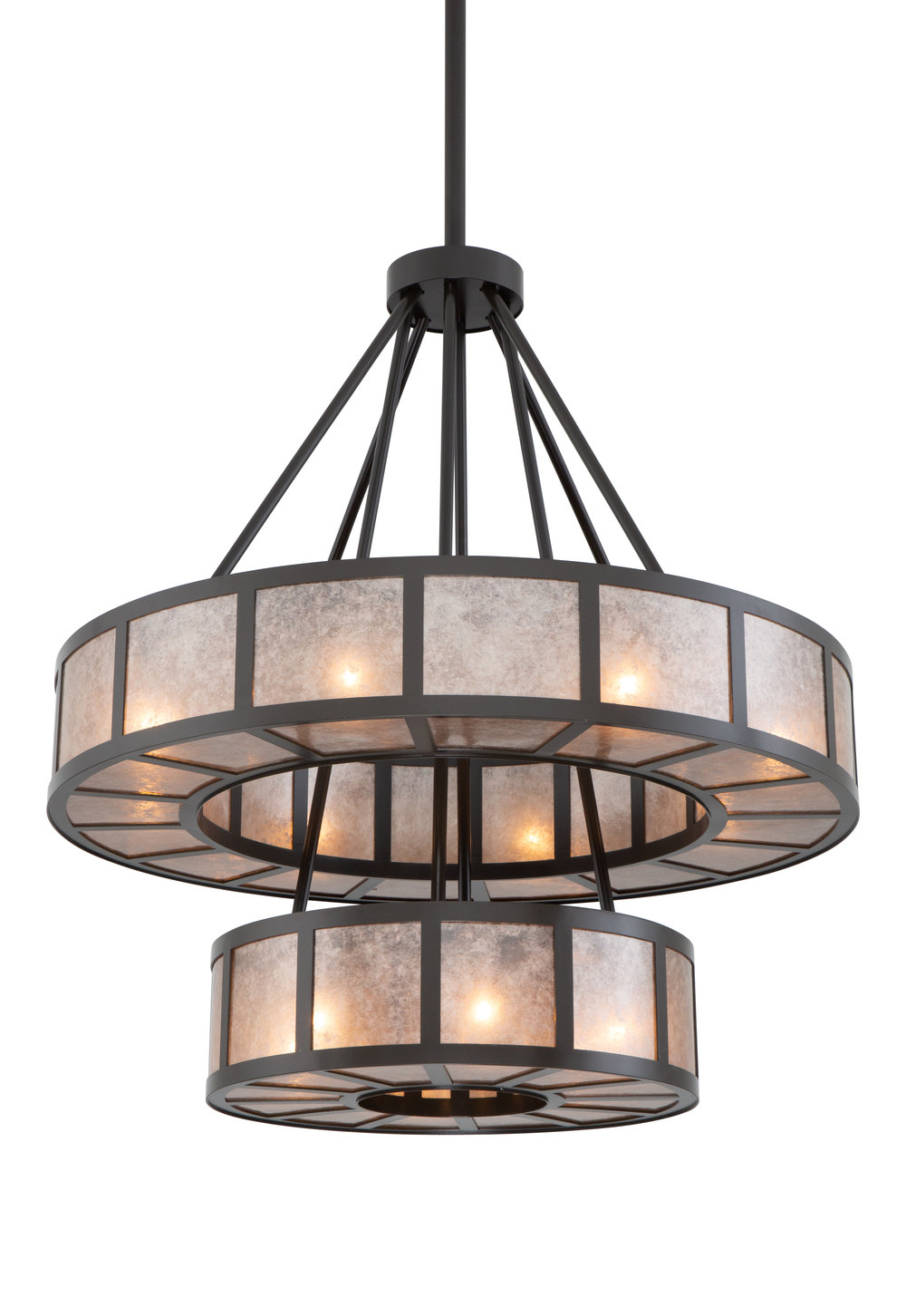 A popular contemporary chandelier, modified for a porte cochere installation. Custom design #CU-CH2249-17G-A