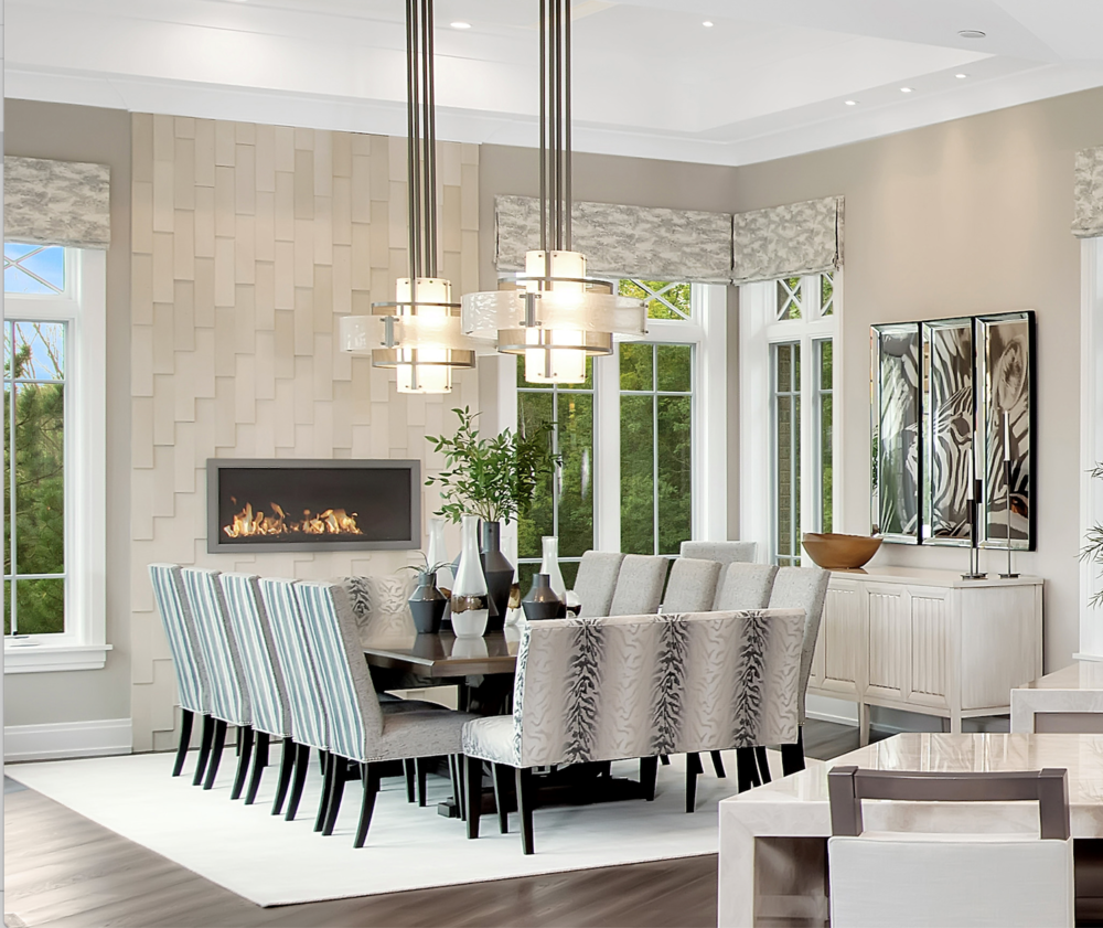 Two Hammerton Signature CHA2021 chandeliers in a light and airy Chicago home.