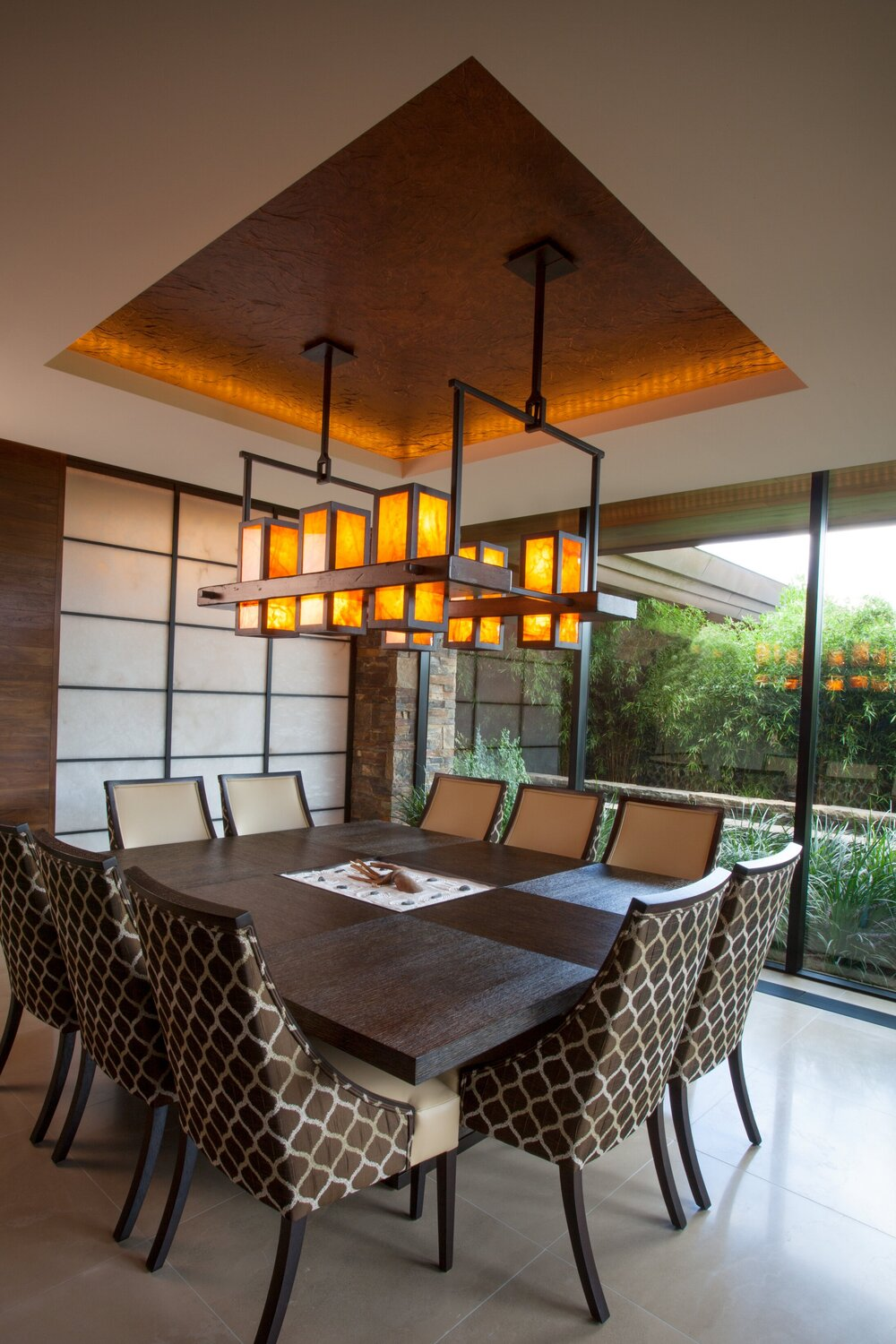 Custom light in a Las Vegas residence featuring Honey Onyx stone mined in Utah and cut exclusively for this fixture.