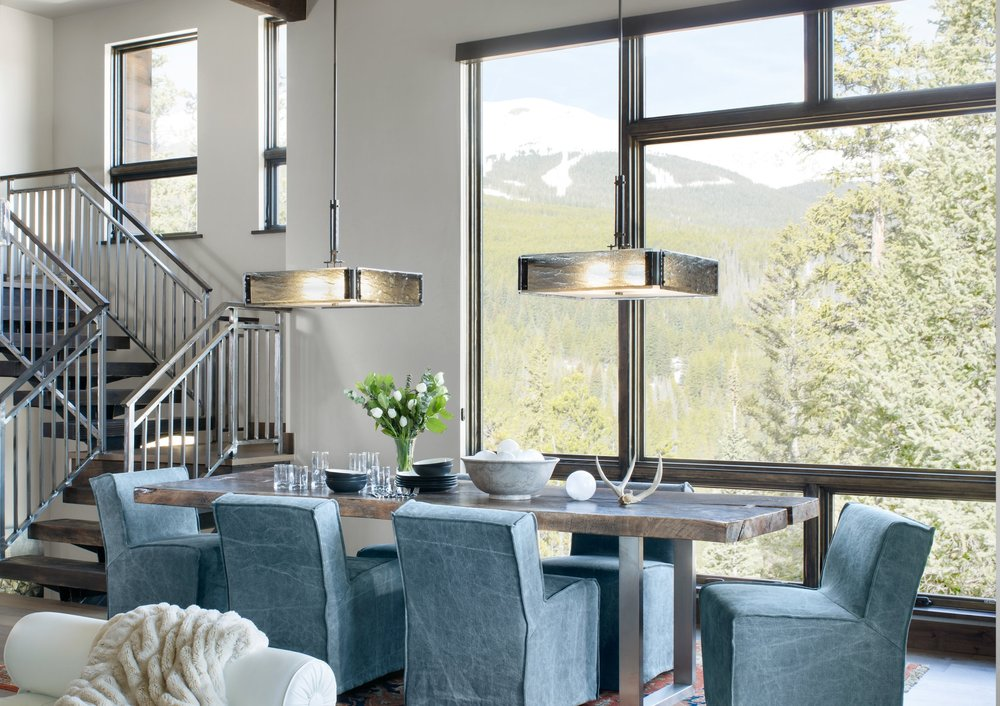Two Hammerton Studio Urban Loft square chandeliers over a rustic contemporary mountain dining table | Pinnacle Design Studio | Frisco, CO