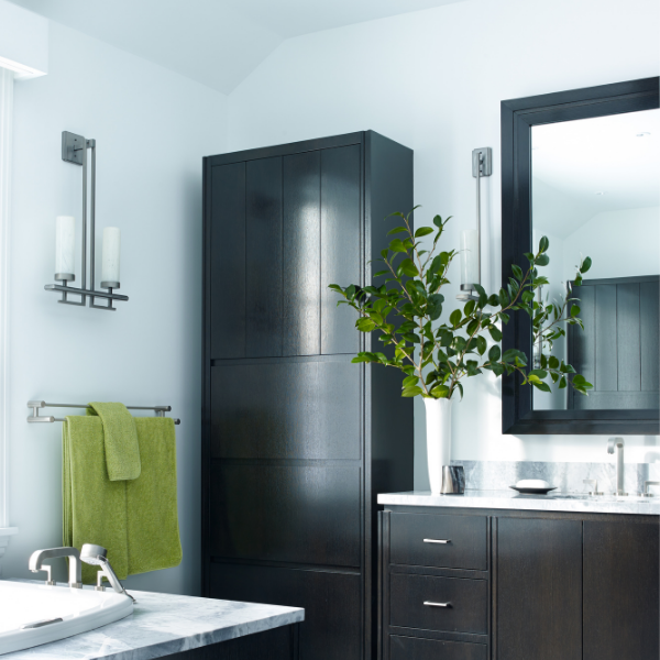 A contemporary ID2086 sconce from Hammerton Signature nicely elevates the visual interest of this Washington CT bath.
