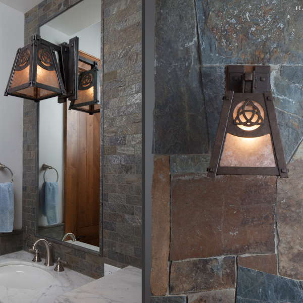 The custom Celtic motif in this modified Craftsman sconce from Hammerton Signature nods to the homeowner's Irish heritage.
