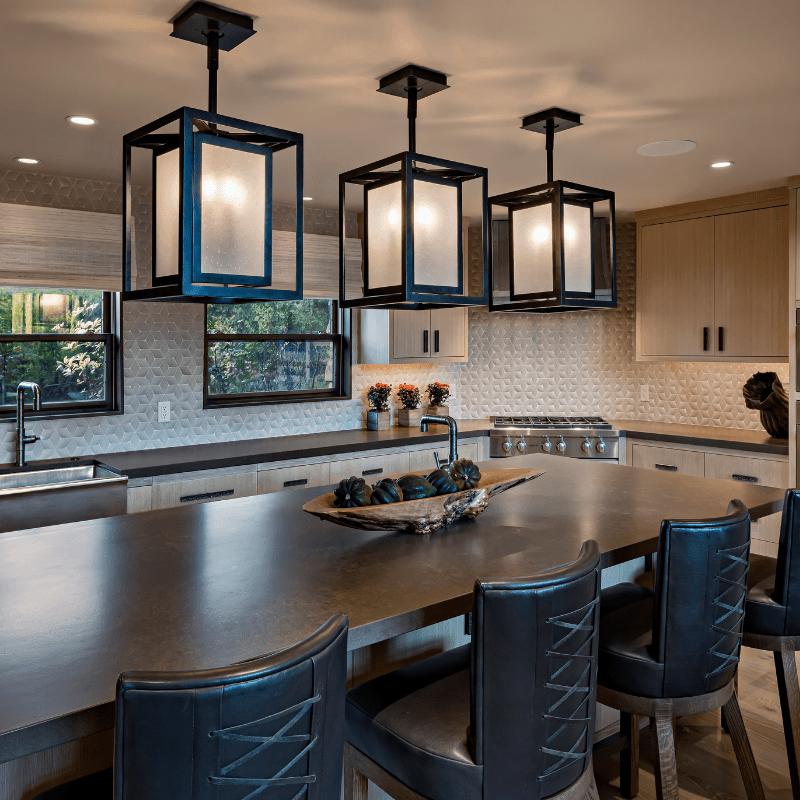 Black pendant light kitchen island